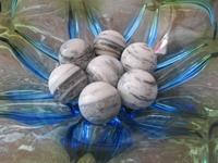 Marmer/Sardonyx half edelsteen gemeleerd grijs E0196b  35 mm