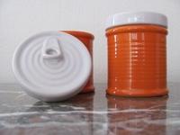Aardewerk voorraad potje blikvorm Oranje  Per stuk
