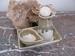 Olie karaf  de Luxe met scrub bakje en schaal kleur Beige Per setje